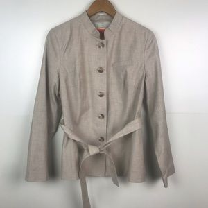 ISAAC MIZRAHI Structured Jacket Tie Waist Button